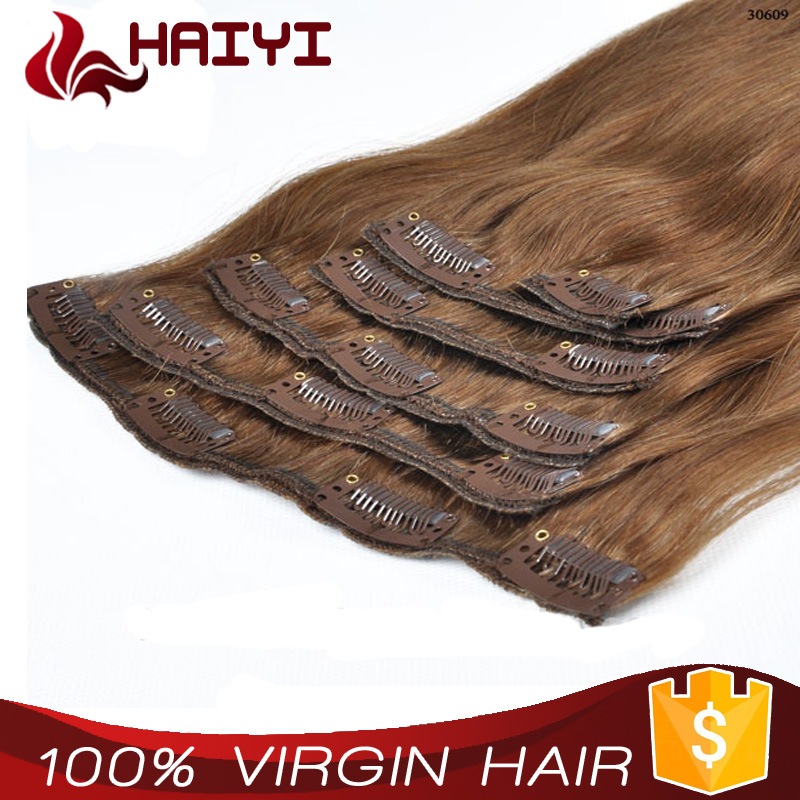 Best Quality Real Virgin Straight Human clip Hair Extensions Big Company