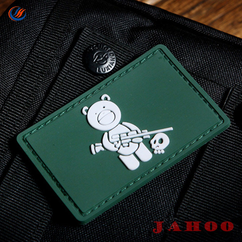 Military Custom 3D Logo Rubber Patch With Hook And Loop Fastener