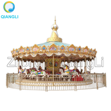 Gold Musical Kids Plastic Swing European Carousel Rides Horse Sale