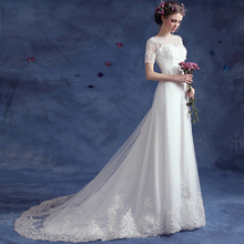 ZM 16116 wedding dresses clearance with half sleeve and high neck design lace appliqued affordable bridal dresses for wedding