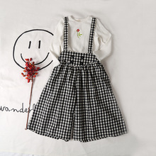 Children Girl's White Plaid Wide Leg High Waisted Shoulder Belt Pants From China Supplier