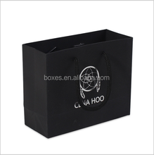 black cardboard gold silver blocking custom logo kraft paper bag with handle