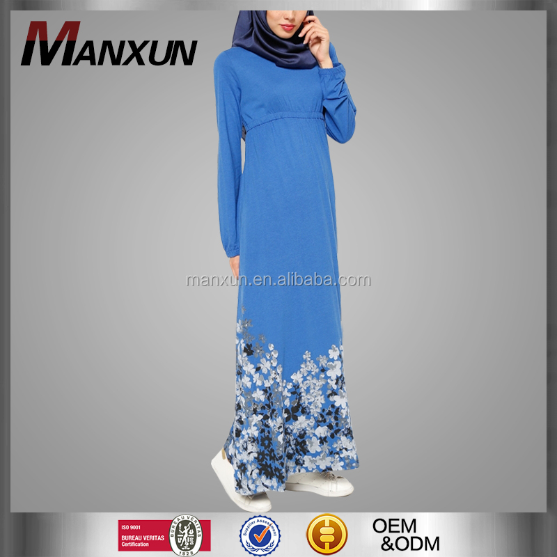 Digital Printing Dress Jersey Casual Dress Muslim Blue Simple Style Arabic Abaya For Women