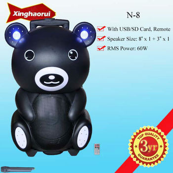 New Arrvial ! Portable Active Stage Speaker Bear Style With Wheels