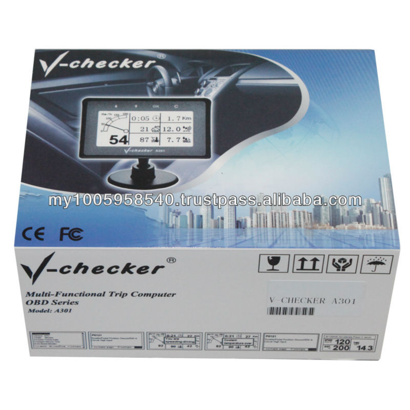 Car Trip Computer , OBD 2 Multi-Function Trip Computer V-Checker A301 OBD2 V-CHECKER VCHECKER