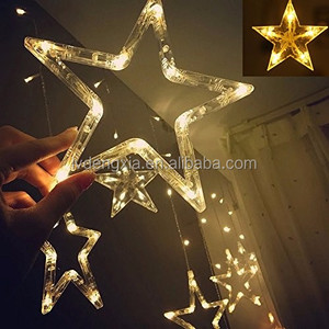 China supplier Warm white 12 big stars led string fairy light 3M 138Leds curtain light Christmas home lighting