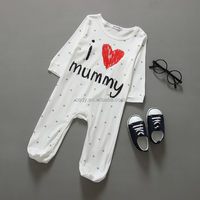 Unisex Gender Knitted Type Long Sleeve baby rompers sets Soft Cute 100% Cotton Baby Clothes I love mummy baby one piece pajamas