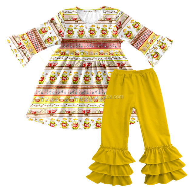 Latest design cheap kids clothes china boutique cute baby girls outfits for infant and toddler