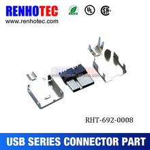 micro USB 3.0 A type male solder type connector