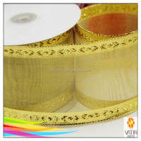 special fashion style decorative mesh wedding golden wide woven edge ribbon