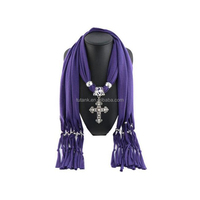 Cross Charm Pendant Jewelry Necklace Scarf