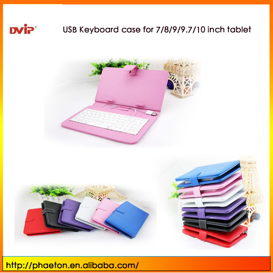 Universal Micro USB 5 pin Keyboard Leather Case with Russian Spanish Thai for 7 inch Android Tablet PC