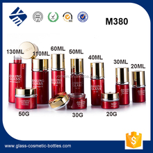 2017 Newest Skin Care Packaging Bottle High Quality Red 20ml 30ml 50ml Serum Glass Bottle Cream Jar Packaging