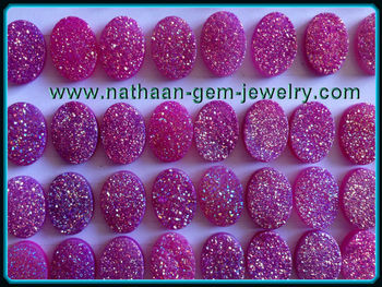 Natural Druzy Titanium Coated Pink Color Flat Drusy Agate Quartz Gemstones for Jewelry at Wholesale Factory prices