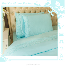 Newest Microfibre Polyester Luxury Bed Sheet Sets with Lace Decoration Beding Set Customer Custom
