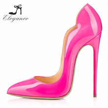 2017 High Quality Ladies Beautiful Pink PU Scalloped Pumps Shoes Cover Ultra High Heels