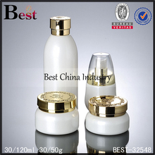 whole set design private printing special shape makeup 100ml glass bottle with pump sprayer and 50g glass jar with cap