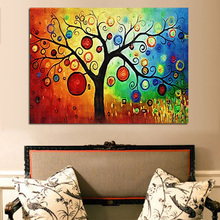 Free Sample Digital modern abstract canvas wall art Apple money tree oil painting for home decoration