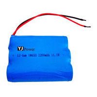 size lithium battery 3.6v 18650 12v YJ18650-3s 2200mAh1800mah 12v light weight battery packs with li-ion battery for power tools