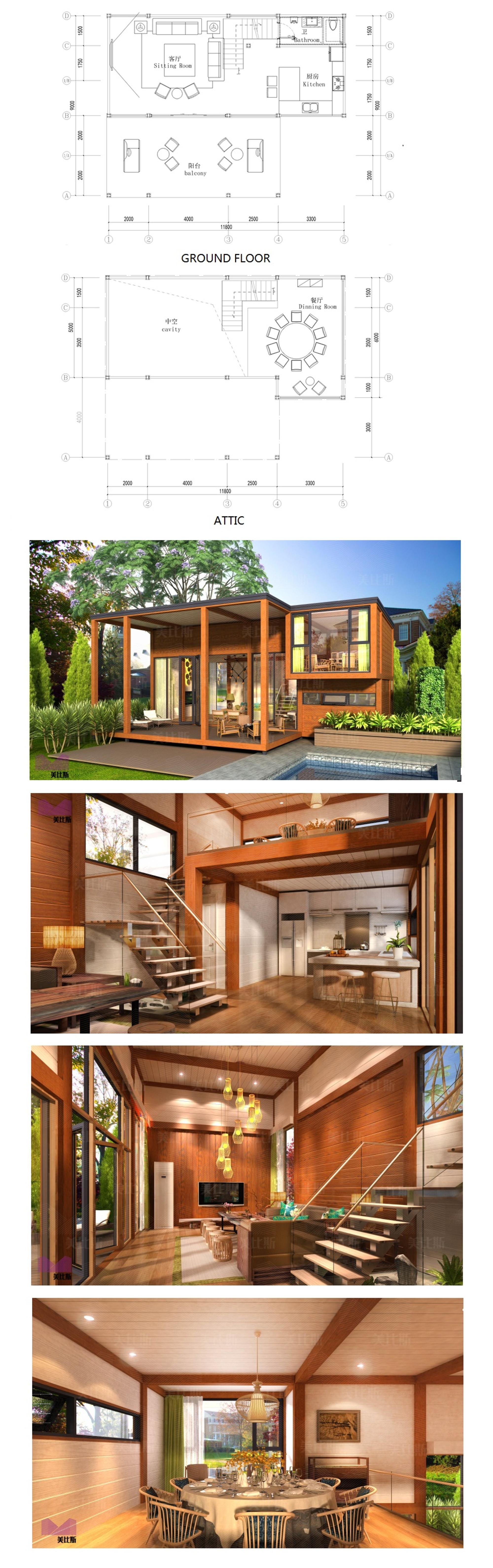 two stories prefabricated luxury wooden prefab house villa for sale