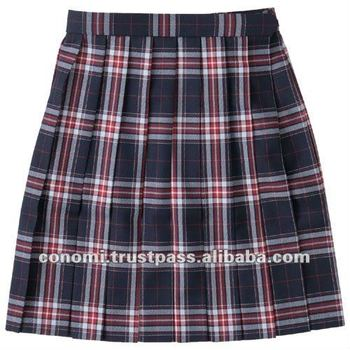 school uniform skirt with pleated navy and red check