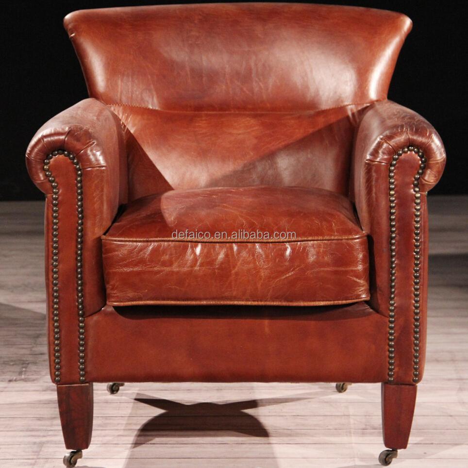 Luxe club hennessy bruin lederen fauteuil met wielen for Luxe eetkamerstoel met wielen