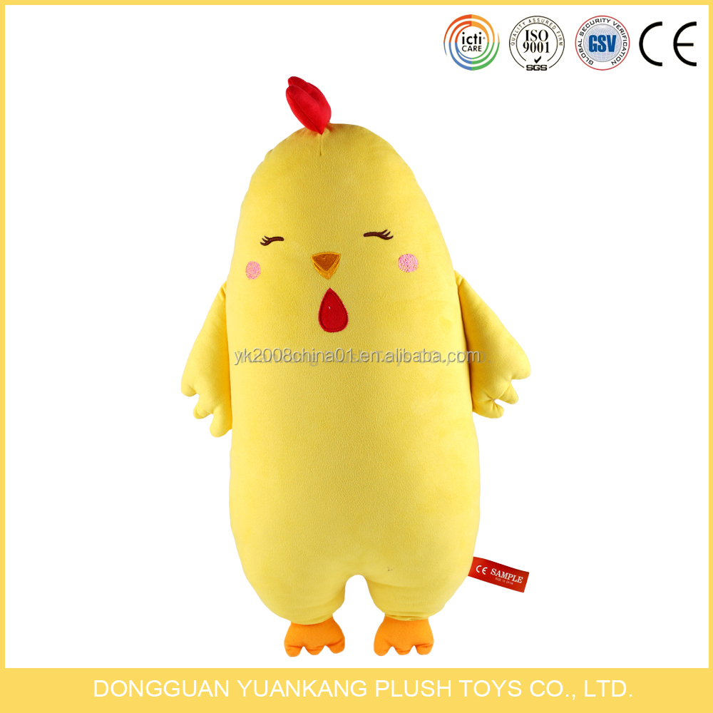 Low price yellow plush stuffed toy chicken soft pillow