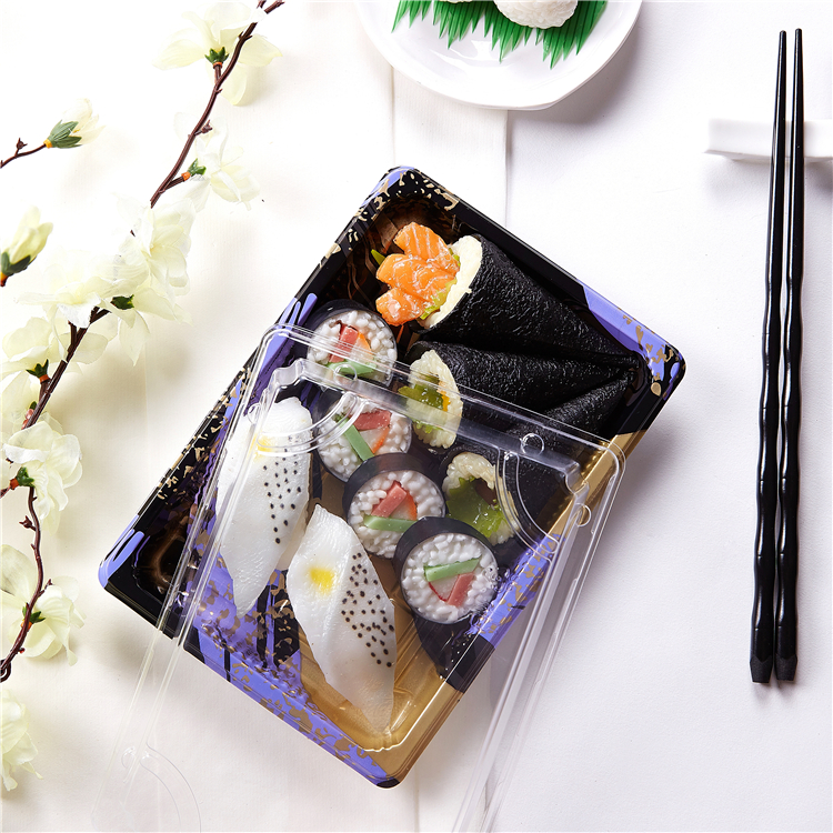 Top grade quality rectangle embossing disposable sushi container/plastic sushi box /food container