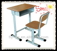 wood top and metal frame single school classroom desk and chair