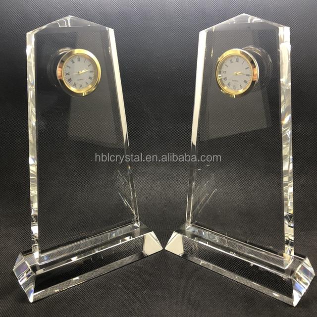 Nice plaque shape k9 crystal clock