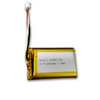 HWE rechargeable lithium polymer li-ion prismatic 3.7v 1800mah 2000mah 103450 lipo battery