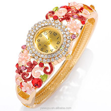 Gold Plate Rhinestone Flower Quartz Fashion Vogue Ladies Watch For Girls