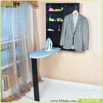 wall mounted folding ironing board with storage cabinet