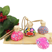 shanghai linlang 5ml clear color round hanging rope wooden cap glass car perfume bottle