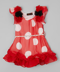 Newest Girls Chiffon Dress With Red And White Dot Adorable Kid Clothing Z-GD80804-11
