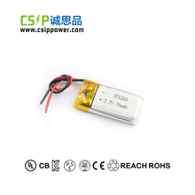 Ultra narrow 371222 3.7v 70mah lithium polymer battery for smart watch, smart ring