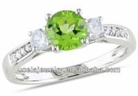 10k White Gold Peridot and White Sapphire imitation Diamond Accent Ring gold wedding ring sets