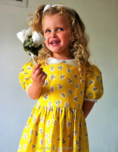 Baby Girls Vintage Style Flower Yellow Dress Victorian Stlye Lace Dress
