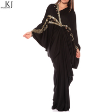 Hot selling Black dubai turkish abaya designer i abaya kaftan butterfly raglan sleeve with sequins wholesale for islamic women