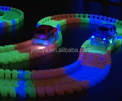 13' Glow-in-the-Dark Track Toys set with 2 Light-Up Car