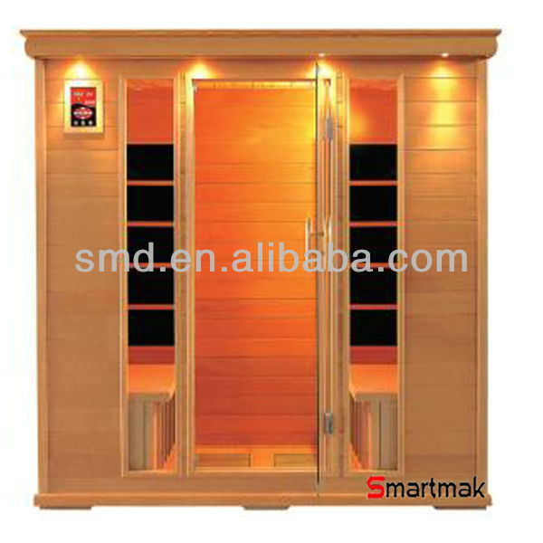infared sauna room with 3 people