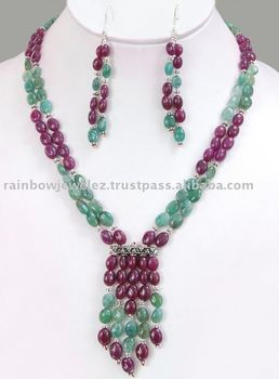 Magnificent Untreated Cabochon Emerald & Ruby Beads 2 Strand Necklace