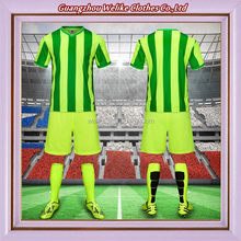 Best design stripe football jersey neon green soccer sets wholesale blank soccer jersey