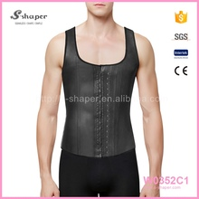 Men Cheap Bodyshaper Waist Training Corsets Latex Vest W0352C1