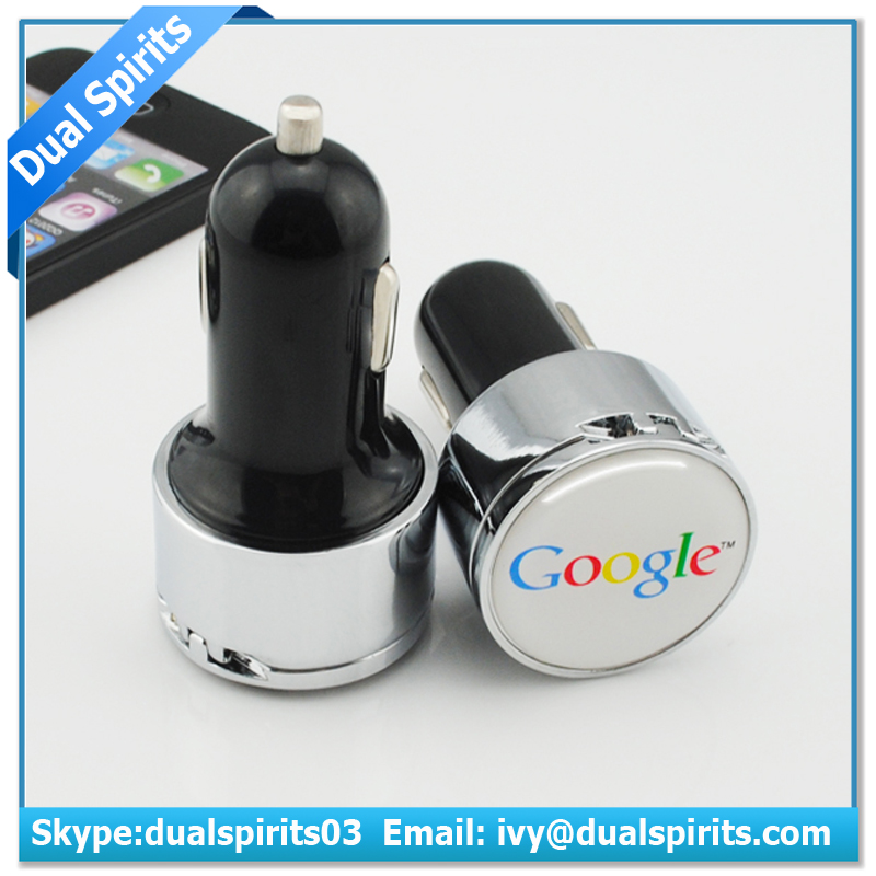 Patent private mould logo dome sticker 2.1A metal usb car charger with cover,metal dual usb car charger with metal cover cap