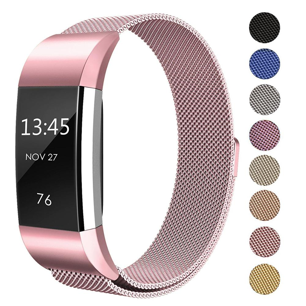 Mesh Loop Loop Bands Compatible Fitbit Charge 2 charge <strong>3</strong>, Stainless Steel Magnetic Lock Metal Wristband Women Men L/ S
