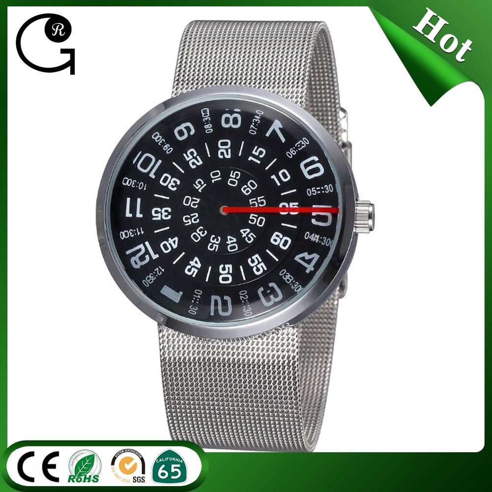 New design concepts rotating time mesh watch band quartz watches