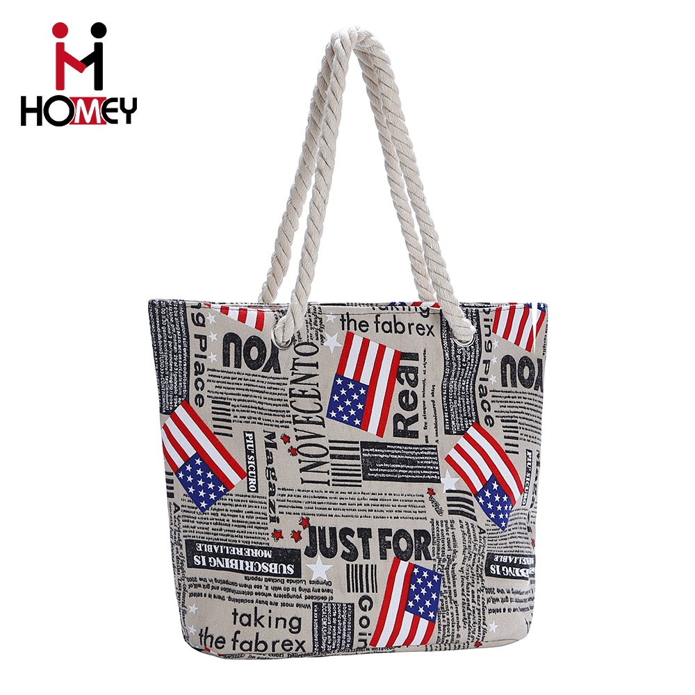 2016 Hot Sale factory promotion price foldable zip top wholesale womens beach bag