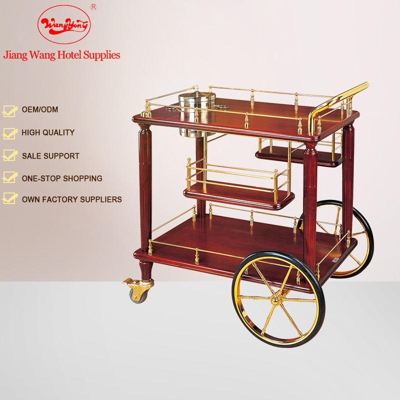 Hotel wine beverage cart drink serving cart with wheels
