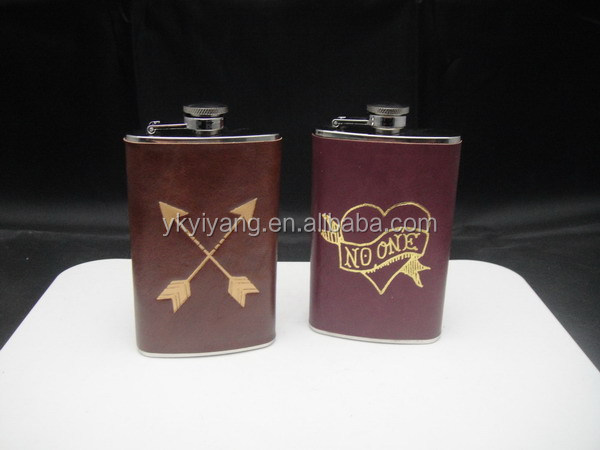 SGS savoy whisky leather with hot transfer sex russia girls hip flask gift set